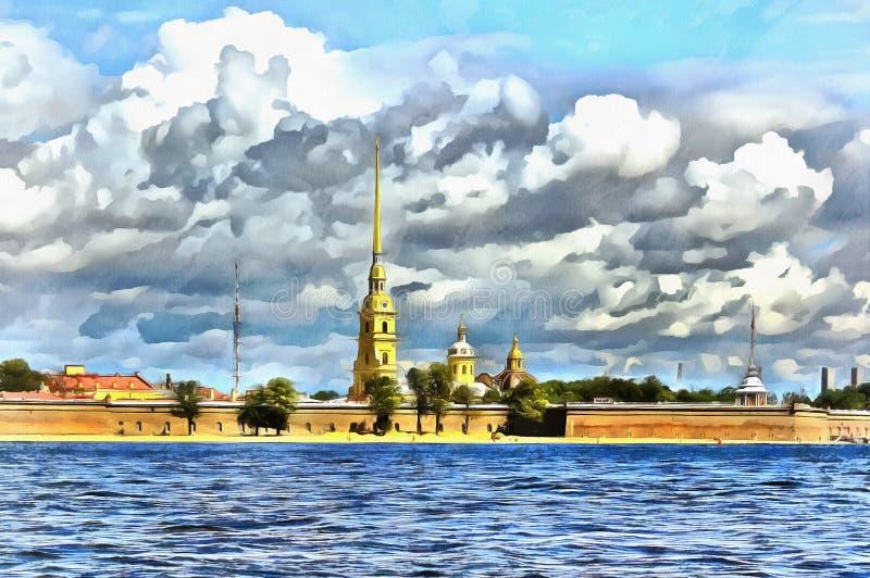 Vista do Neva à catedral do Peter e do Paul Fortress ilustração royalty free
