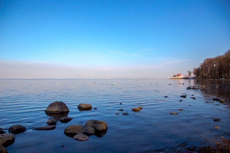Vista do palácio de Monplaisir da água no museu de Peterhof St Petersburg, R?ssia fotografia de stock