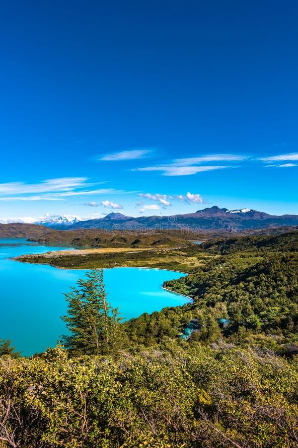 Vista do parque nacional de Torres del Paine, suas florestas, lagoa, gla imagem de stock
