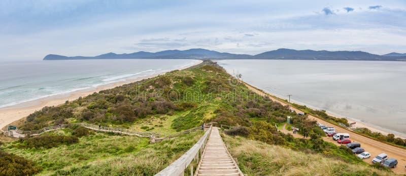 Vista do pescoço da vigia Console de Bruny, Tasmânia imagem de stock