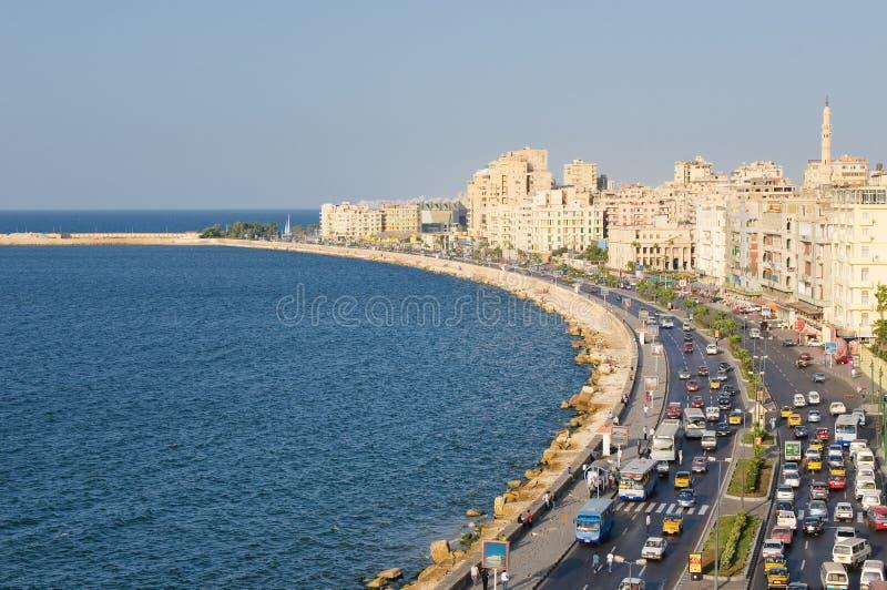Vista do porto de Alexandria, Egipto imagens de stock royalty free