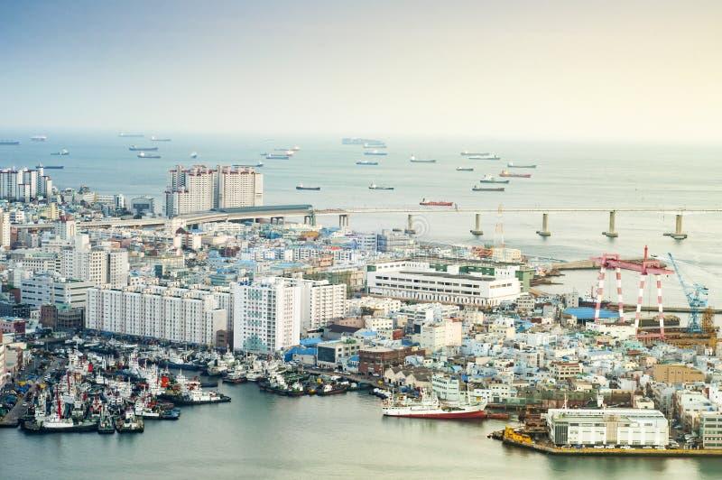Vista do porto de Busan foto de stock