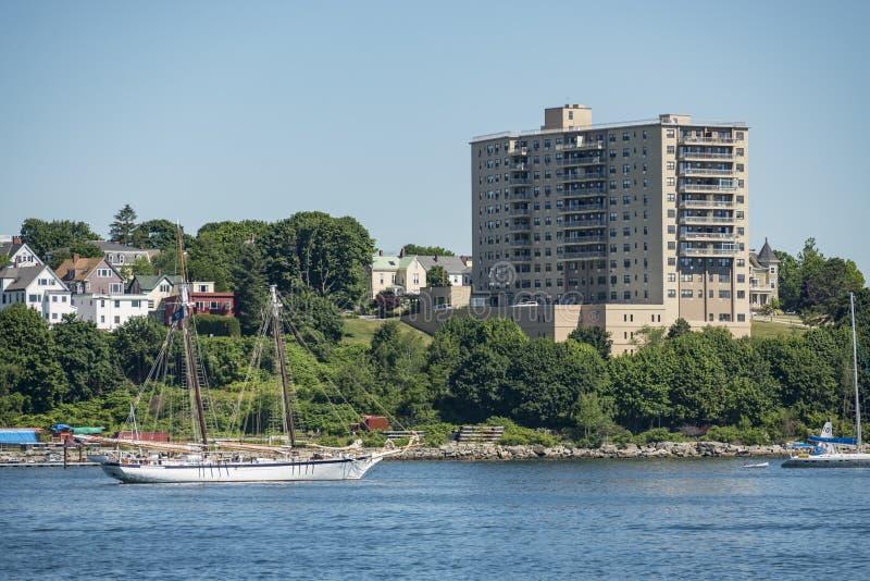 Vista do porto de Portland em Maine imagem de stock