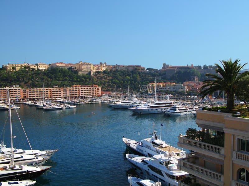 Vista do porto Hercule, Mônaco fotografia de stock