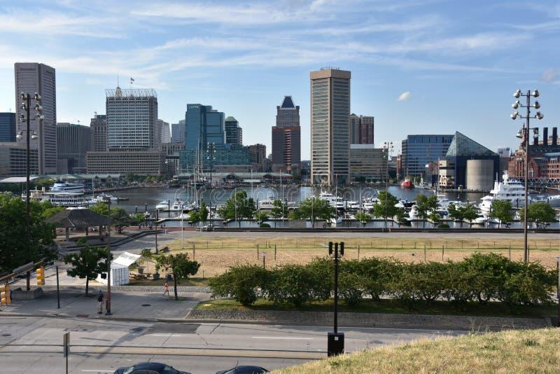 Vista do porto interno em Baltimore, Maryland foto de stock royalty free