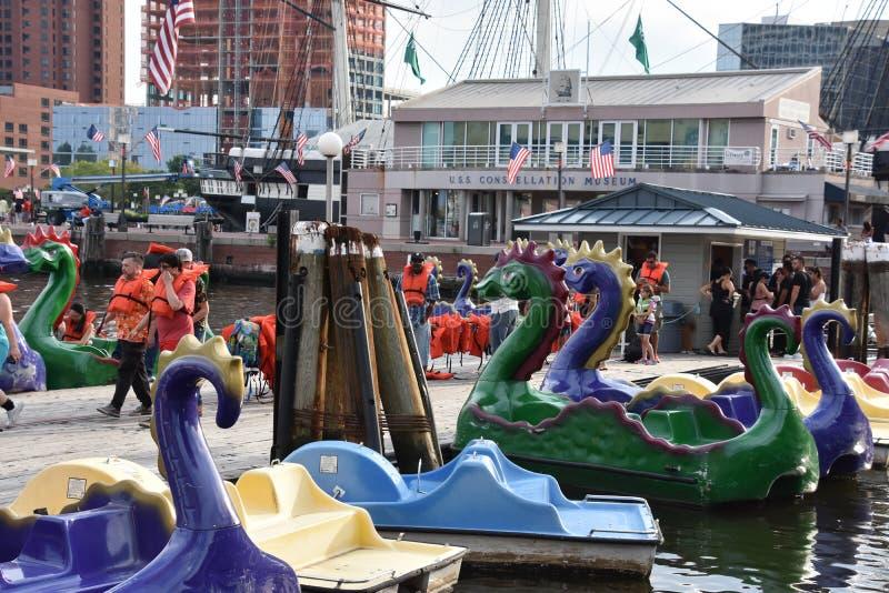 Vista do porto interno em Baltimore, Maryland fotos de stock
