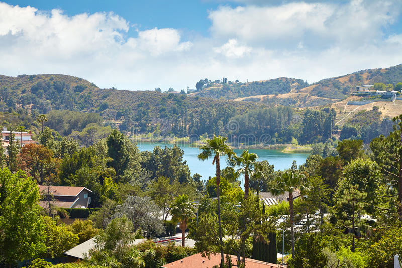 Vista do reservatório de Hollywood, em Los Angeles imagem de stock royalty free