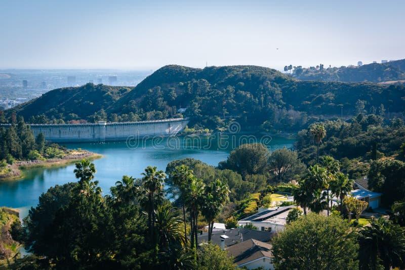 Vista do reservatório de Hollywood, em Los Angeles, Califórnia fotografia de stock
