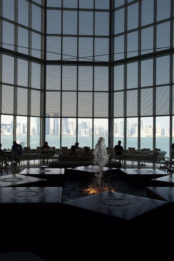 Vista do restaurante do musem de Doha foto de stock