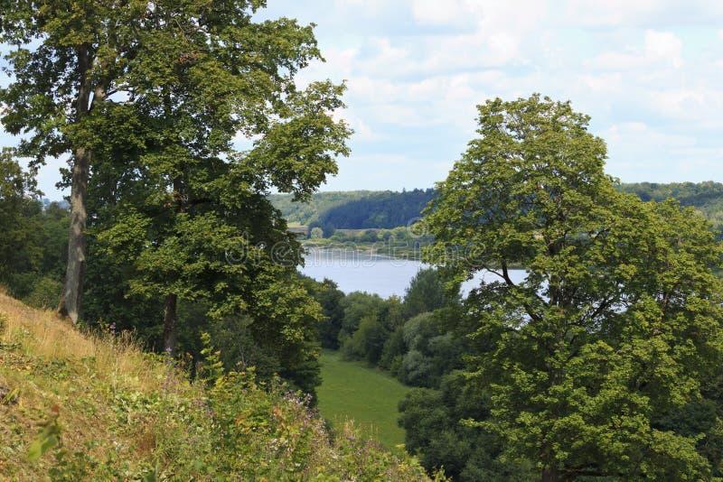 Vista do rio da montanha fotos de stock