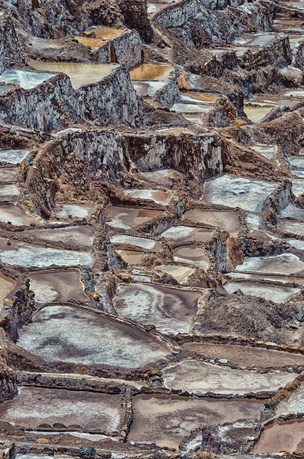 A vista do sal ponds, Maras, Cuzco, Peru fotografia de stock royalty free