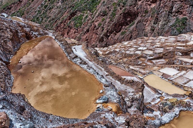 A vista do sal ponds, Maras, Cuzco, Peru imagens de stock