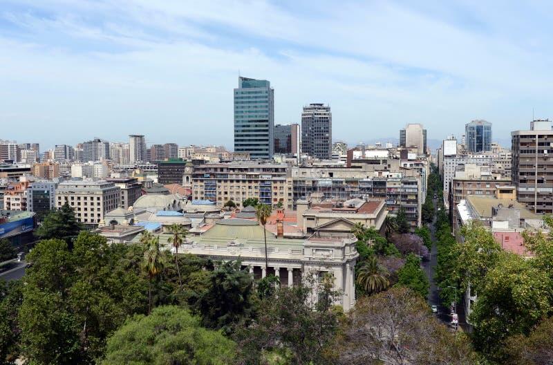 Vista do Santiago da montagem Santa Lucia fotografia de stock