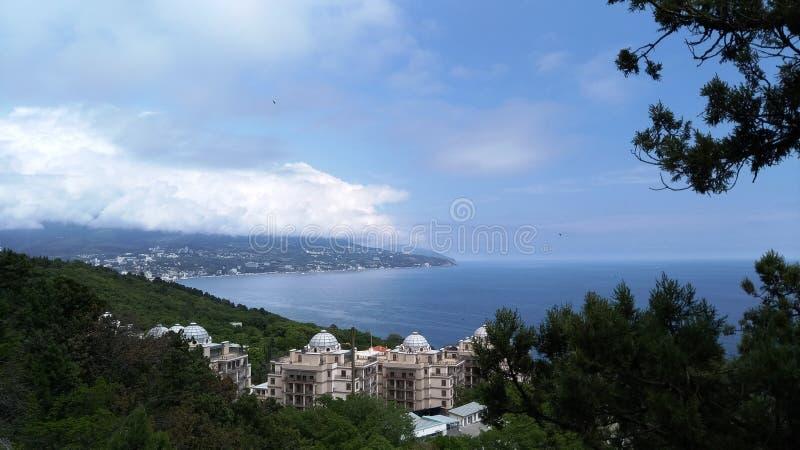 Vista do seacoast em Crimeia fotos de stock royalty free