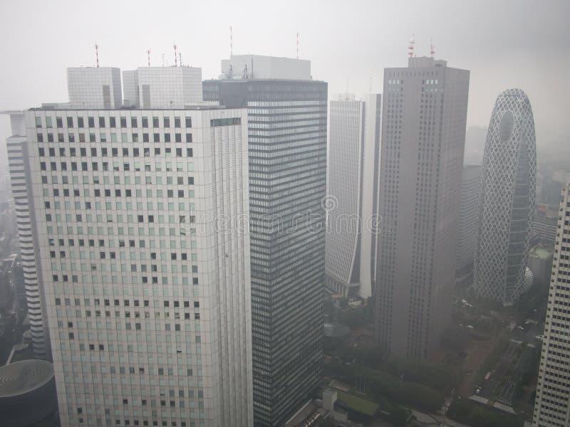 Vista do Tóquio chuvoso do  metropolitano do åº do ½ do ±äº¬éƒ do  do æ da construção do governo, Shinjuku, Japão imagens de stock
