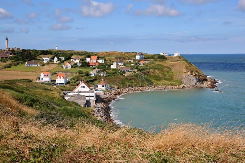 Vista do tampão Gris Nez no ` Opale da costa d, Pas-de-Calais, França imagem de stock royalty free