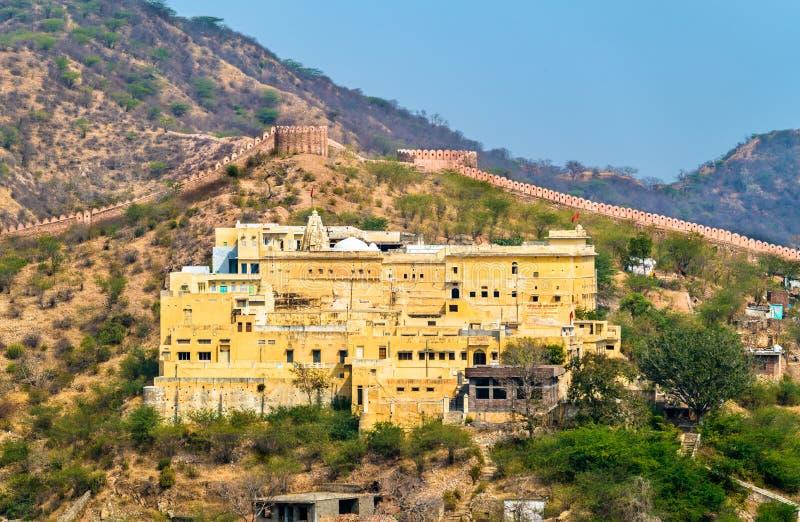 Vista do templo de Badrinath em Amer perto de Jaipur, Índia fotografia de stock royalty free