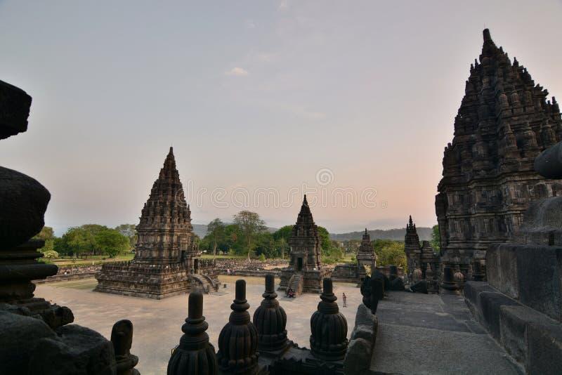 Vista do templo de Shiva Prambanan Região de Yogyakarta java indonésia imagem de stock royalty free