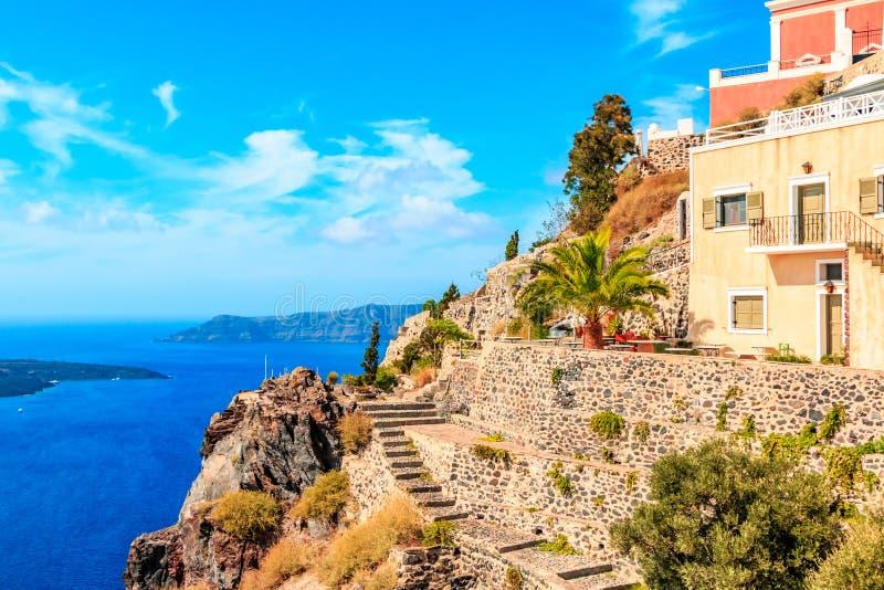 Vista do terraço Santorini imagens de stock