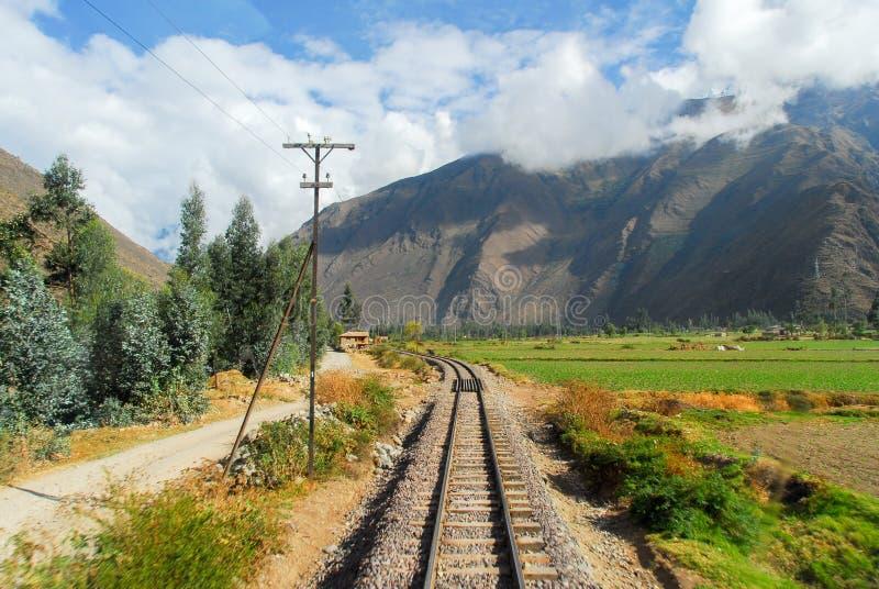 Vista do trajeto entre Cusco e Machu Picchu, Peru imagens de stock