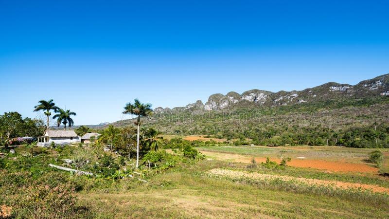 Vista do vale de Vinales com uma casa da quinta pequena fotos de stock