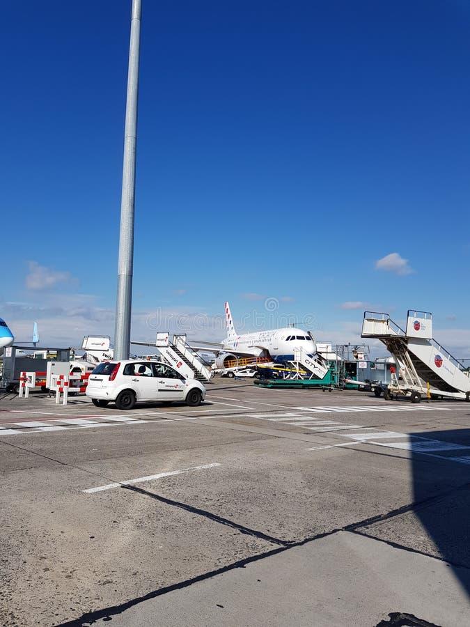 Vista dos aviões fotografia de stock