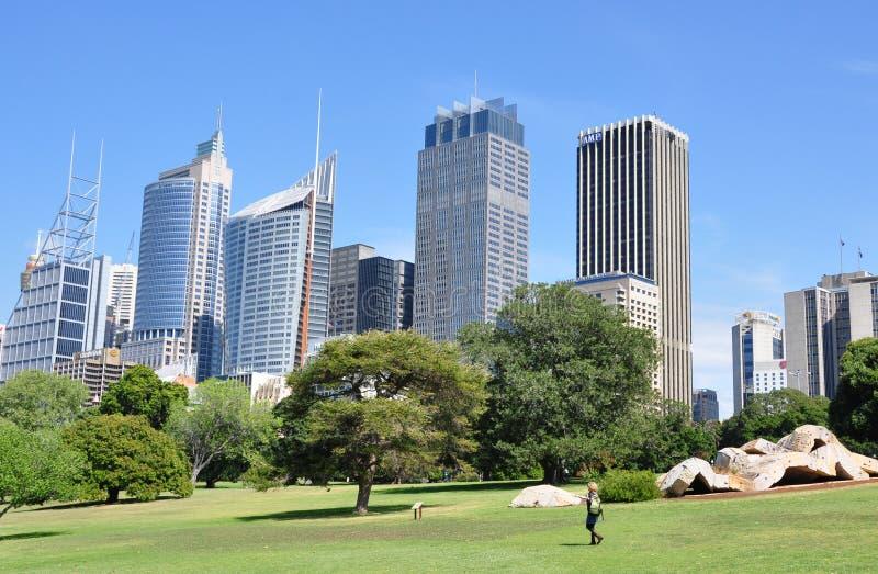 Vista dos jardins botânicos reais em Sydney imagem de stock royalty free