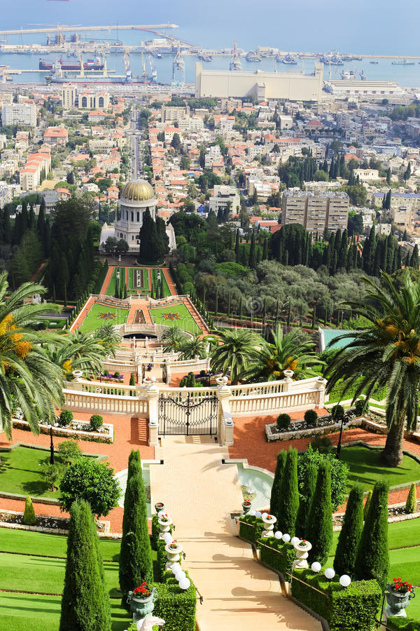Vista dos jardins de Bahai imagens de stock