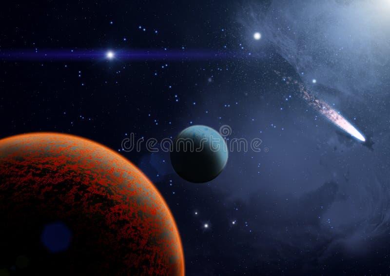 Vista dos planetas, das luas e do universo ilustração do vetor