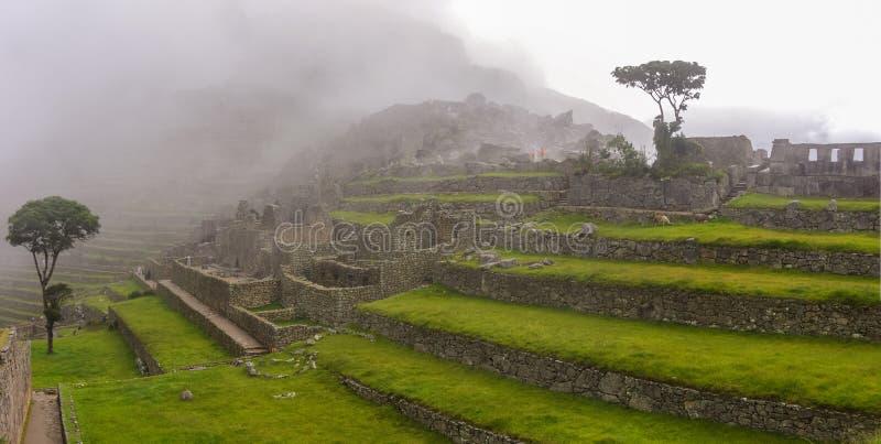 Vista dos terraços Lost Inca City de Machu Picchu Baixas nuvens imagem de stock royalty free