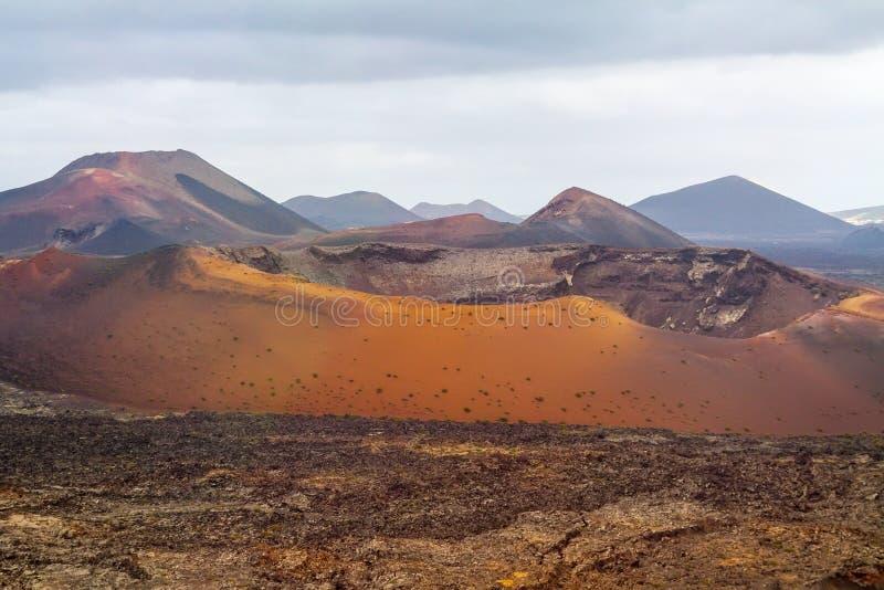 Vista dramática del parque nacional de Timanfaya foto de archivo
