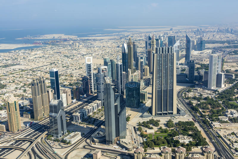 Vista Dubai do centro fotos de stock royalty free