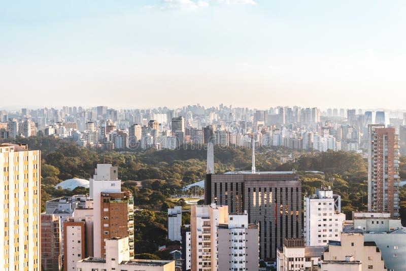 Vista elevada del parque de Ibirapuera en Sao Paulo, el Brasil el Brasil fotografía de archivo