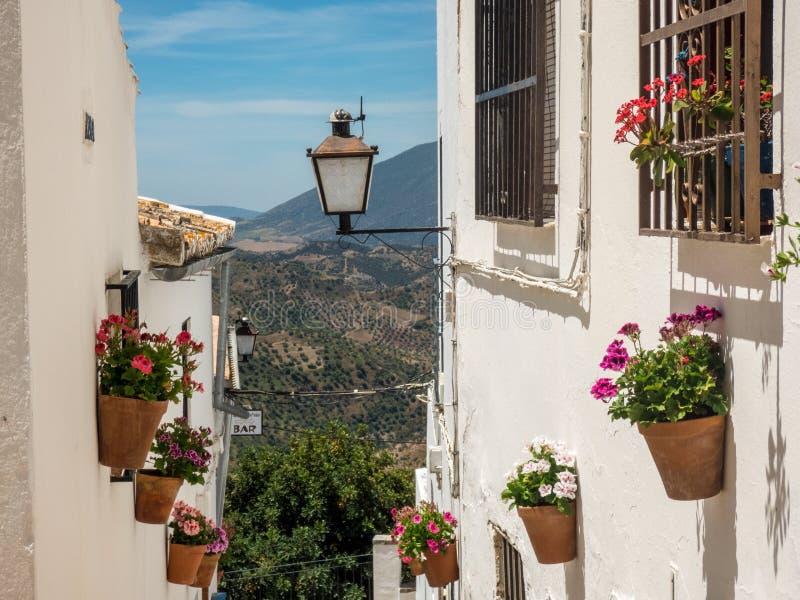 Vista elevado das casas na borda da cidade e de campo circunvizinho, prov?ncia de Olvera, Cadiz, a Andaluzia, Spain, Europa ocide imagem de stock royalty free
