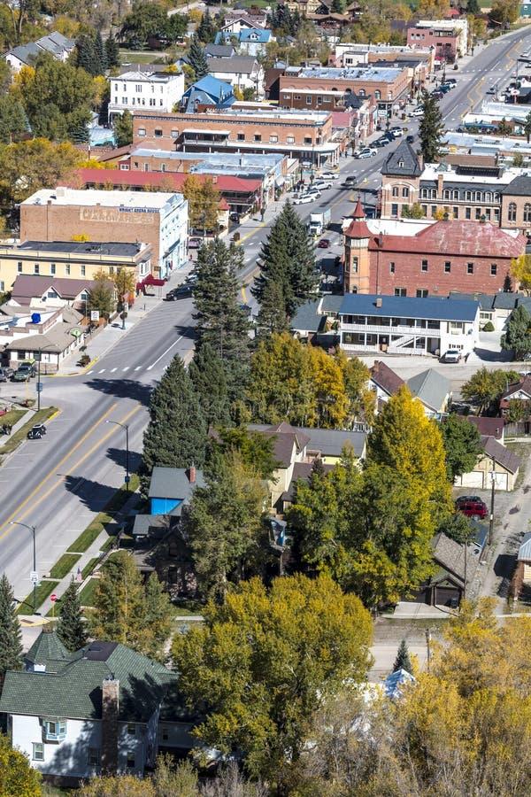 Vista elevado de Ouray smalltown, Colorado fotografia de stock royalty free