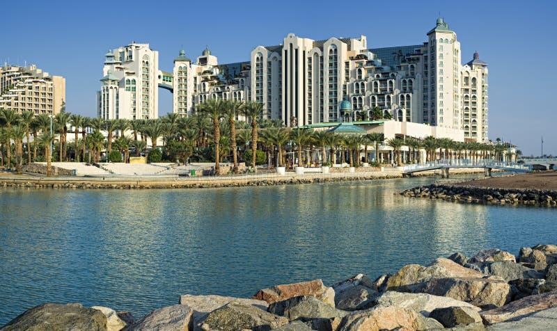 Vista em hotéis de recurso de Eilat imagens de stock