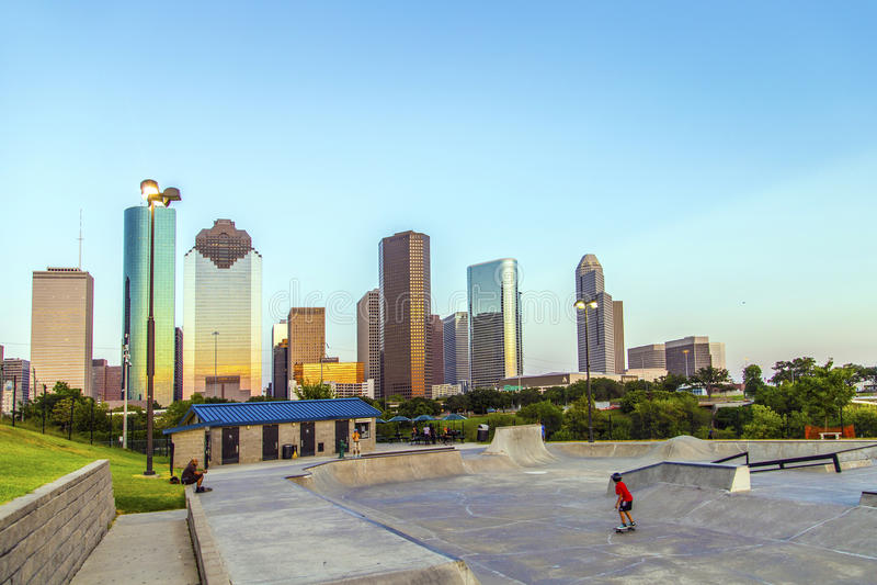 Vista em Houston do centro dentro tarde foto de stock