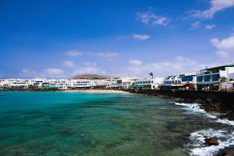 Vista em Playa Blanca Lanzerotte imagens de stock