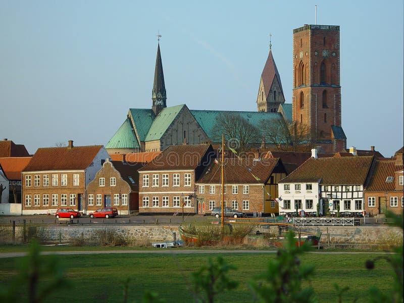 Vista em Ribe, Dinamarca fotografia de stock royalty free