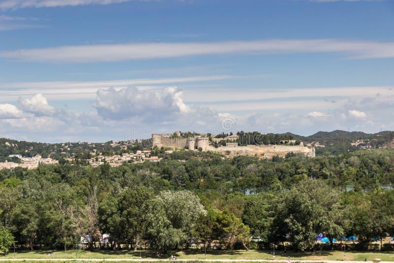 Vista em Saint-André do forte em les Avignon de Villeneuve fotografia de stock royalty free