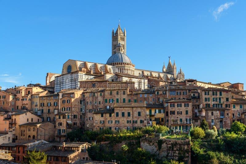 Vista em Siena com abóbada e torre de Bell de di Siena de Siena Cathedral ou do domo de Basílica di San Domenico Italy imagens de stock royalty free