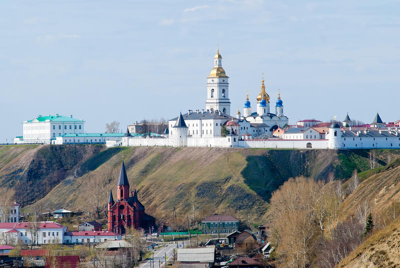 Vista em Tobolsk kremlin fotos de stock royalty free