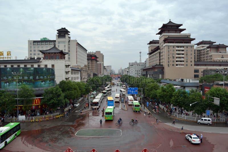 A vista em torno Xi do ` uma parede da cidade durante o dia nebuloso O PIC foi tomado fotos de stock