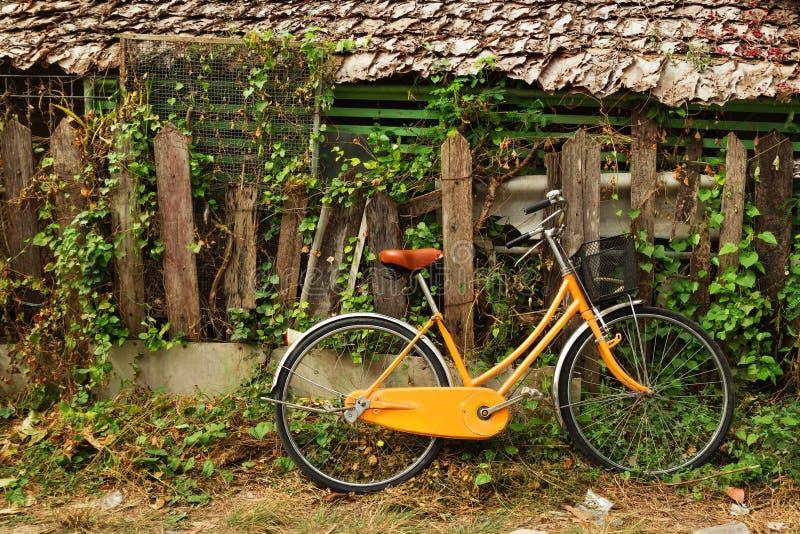 Vista em uma bicicleta alaranjada próximo à casa de madeira e à cerca de madeira quebrada velha com planta encaracolado imagem de stock royalty free