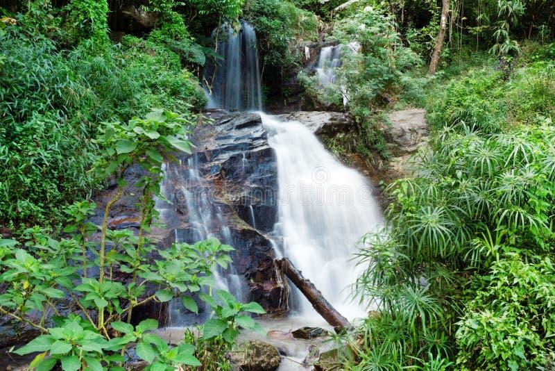 Vista em uma cachoeira pequena na selva Província de Chiang Mai, Doi Suthep, Tailândia fotos de stock
