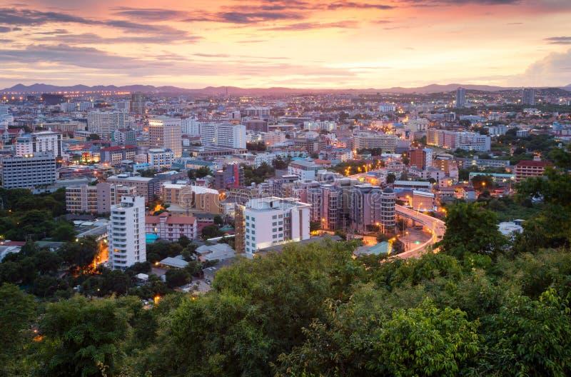 Vista escénica de la ciudad de Pattaya imagenes de archivo