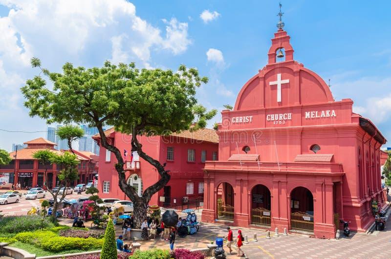 Vista escénica de la iglesia Malaca de Cristo y del cuadrado holandés, exploración vista poder de la gente alrededor de imágenes de archivo libres de regalías