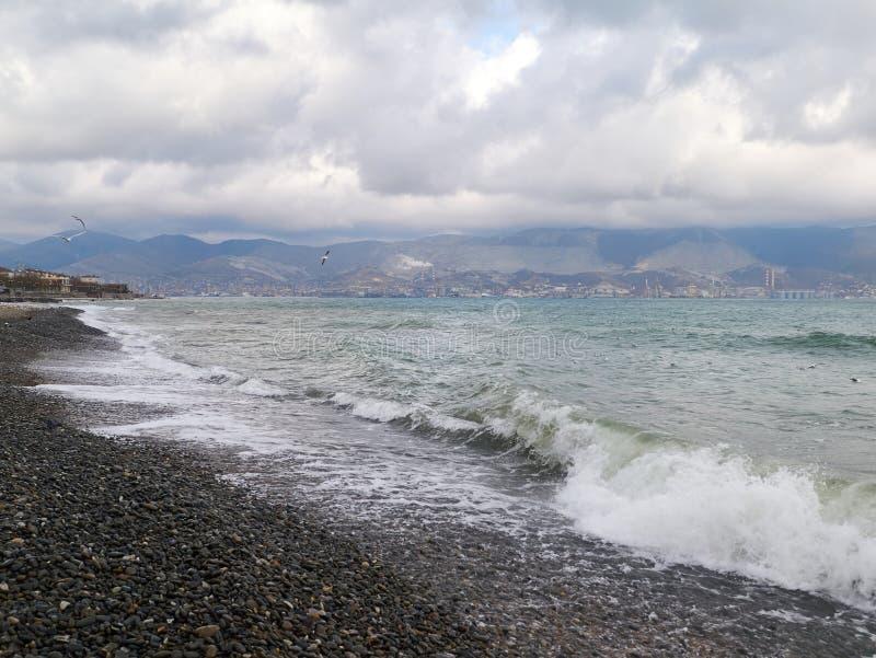 Vista escénica de la orilla pedregosa de la costa del Mar Negro fotografía de archivo libre de regalías