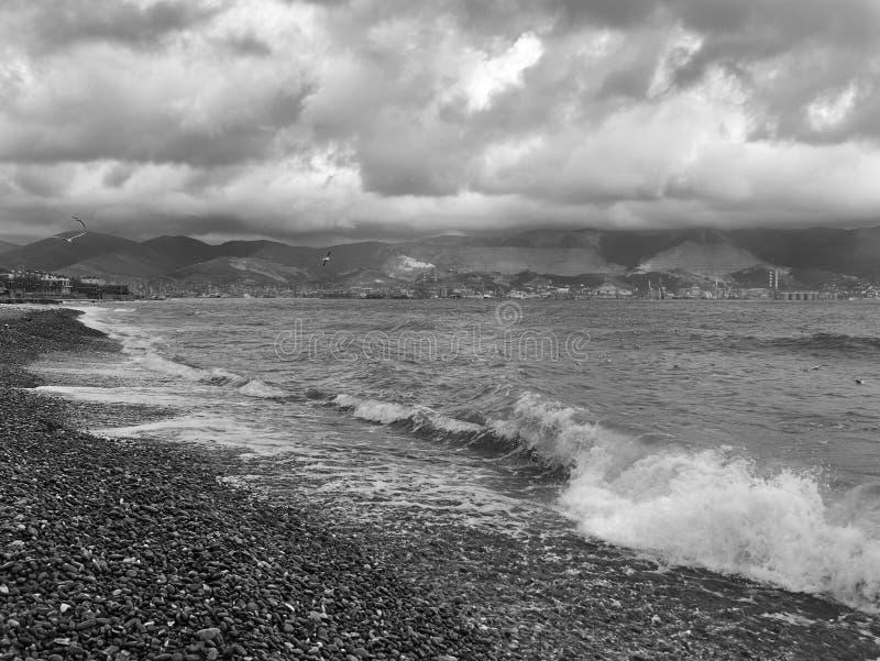 Vista escénica de la orilla pedregosa de la costa del Mar Negro imagen de archivo libre de regalías