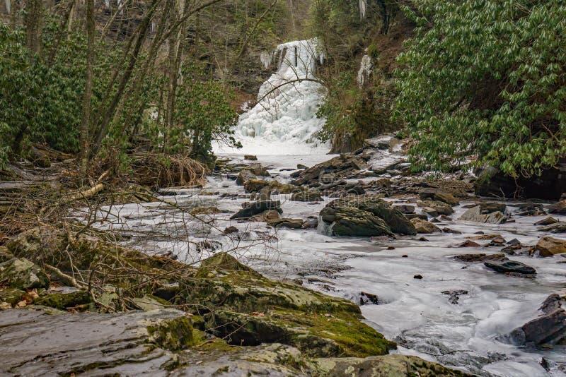 Vista escénica de las caídas congeladas de la cascada y de poco Stony Creek imágenes de archivo libres de regalías